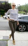 Gwen Stefani styled up a playful version of staple stripes in an asymmetrical-hemmed A.L.C. sweater.