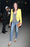 Hilary Rhoda added a touch of color with a bright Zara jacket — this sweet outfit combo is killer.