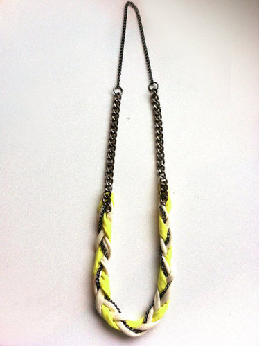 Dita Braided Jersey & Gunmetal Chain Necklace