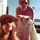 Rosie Huntington-Whiteley blew kisses with a friend. Source: Instagram user rosiehw