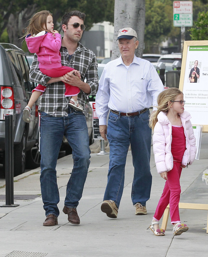 Ben Affleck held Seraphina Affleck while Violet Affleck skipped ahead shopping for Mother's Day gifts in LA.
