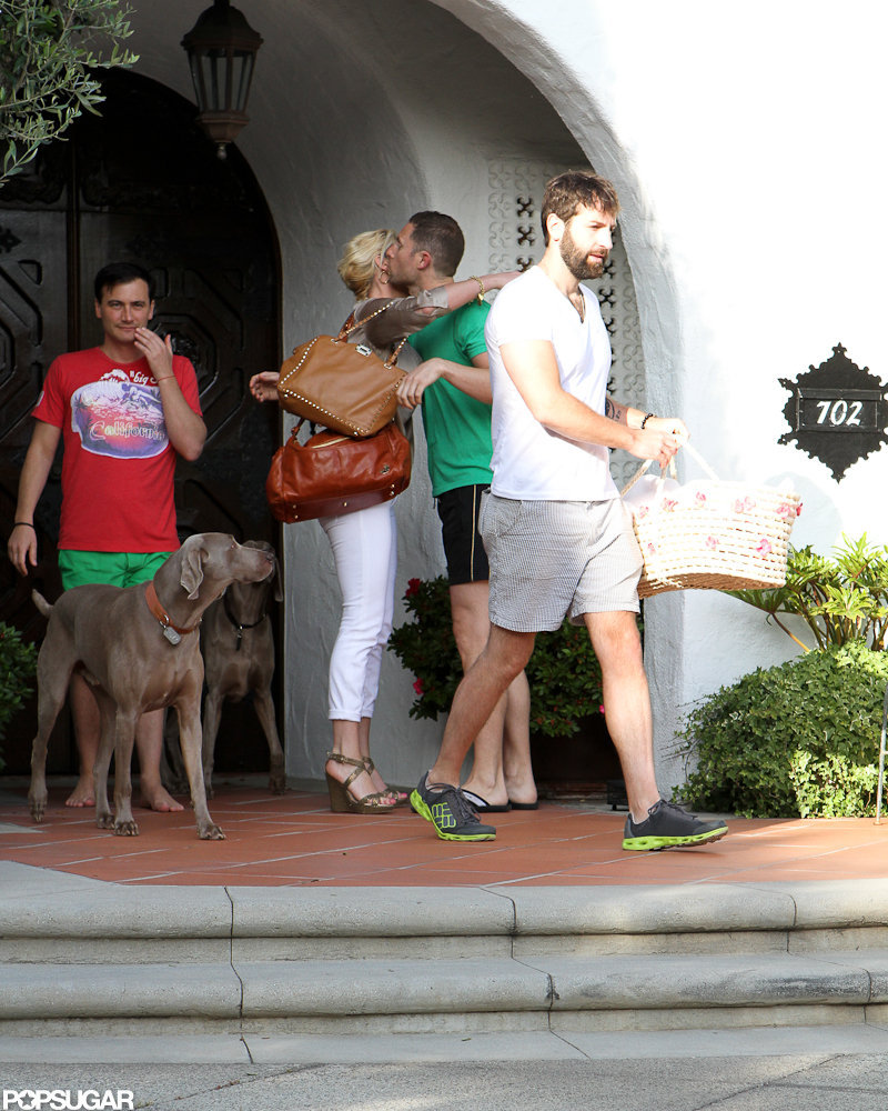 Katherine Heigl hugged her friends leaving their house in LA.