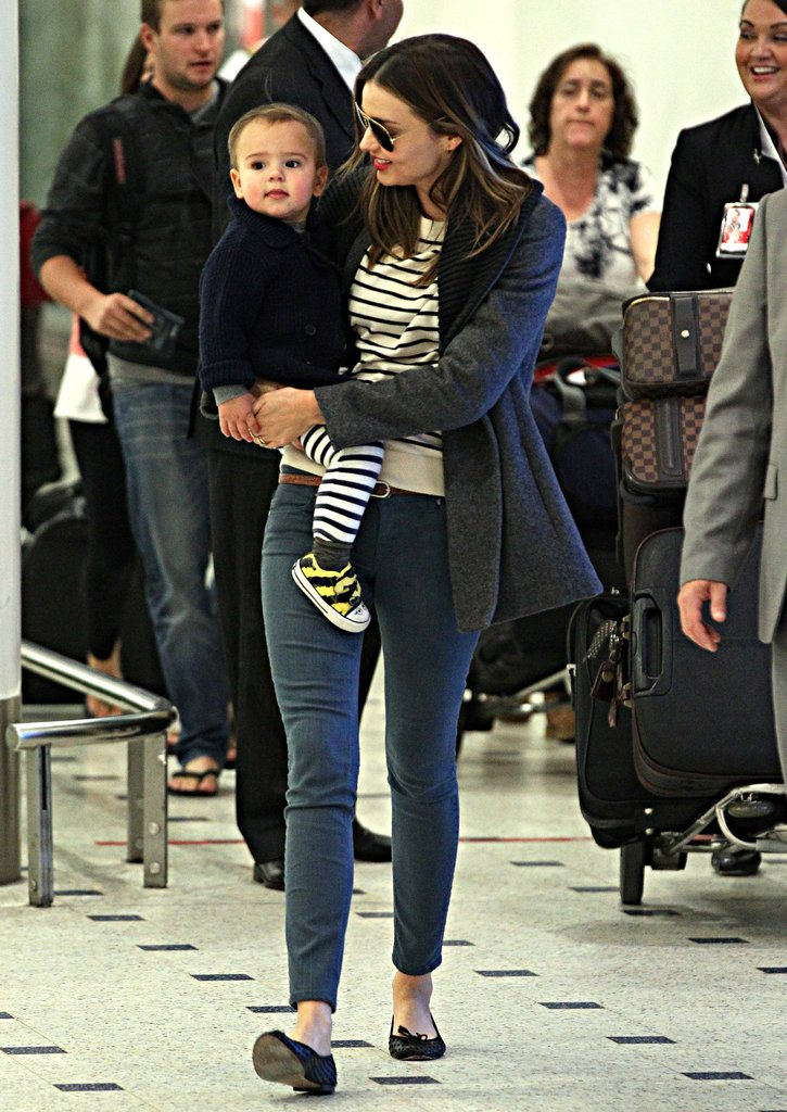 Miranda Kerr arrived in Sydney with her son Flynn Bloom.