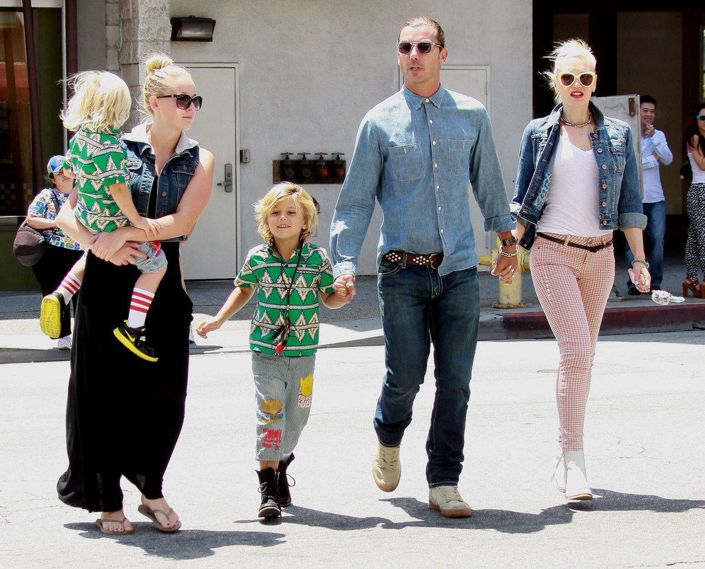 Gwen Stefani and Gavin Rossdale stuck together in LA with sons Zuma and Kingston.