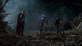 Chris Hemsworth as Thor, Robert Downey Jr. as Iron Man, and Chris Evans as Captain America in The Avengers. Photo courtesy of Disney