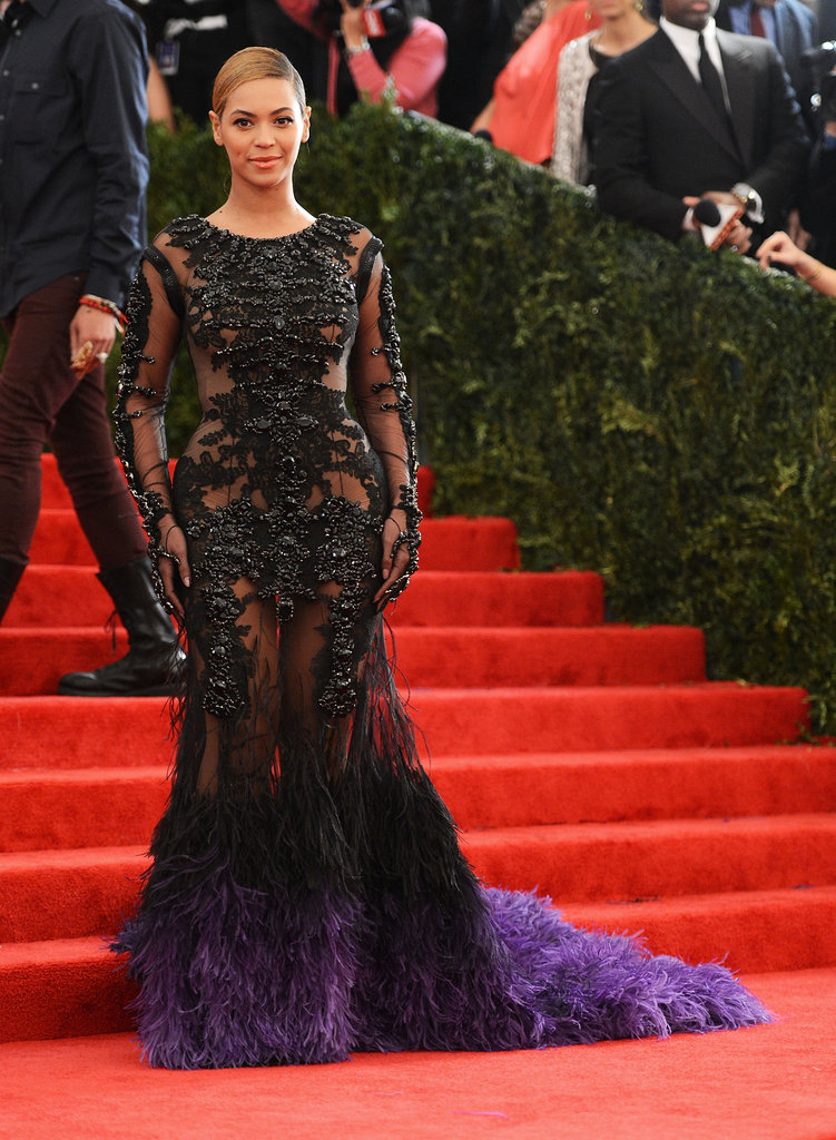 Beyoncé Knowles wore a feathered Givenchy number to the Met Gala.