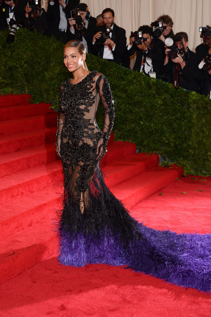 Beyoncé Wears See-Through Feathered Givenchy and Makes a Nod to Blue at the Met