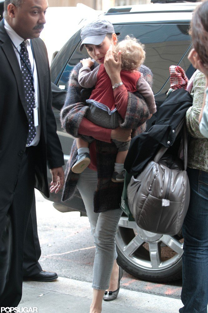 Marion Cotillard arrived back at her hotel with Marcel in NYC.