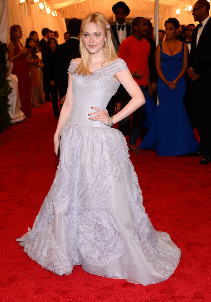 Dakota Fanning Looks Lovely in Louis Vuitton at the Met Gala