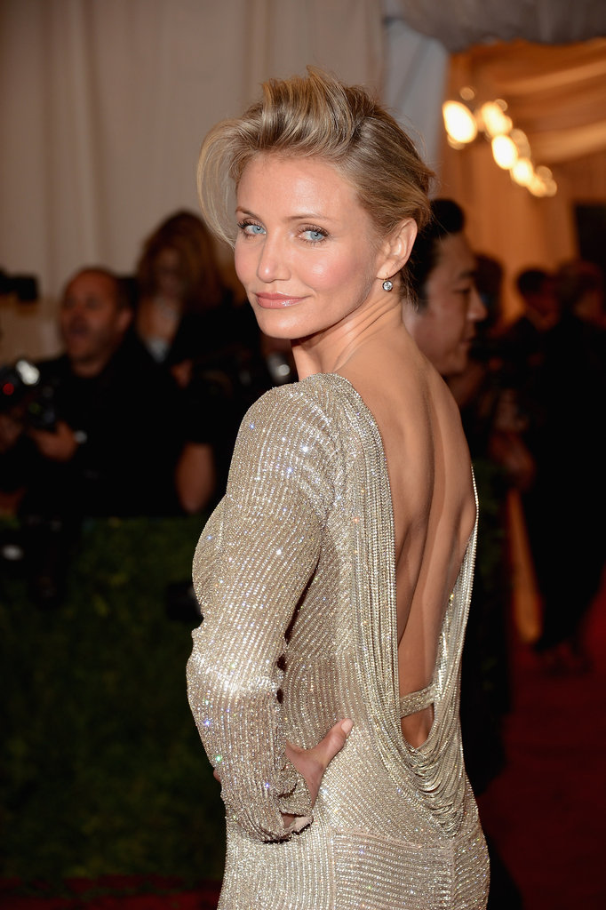 Cameron Diaz gave a smile on the red carpet at the Met Gala.