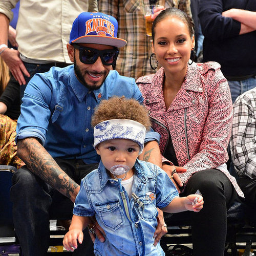 Alicia Keys and Swizz Beatz With Egypt Dean at Knicks Game
