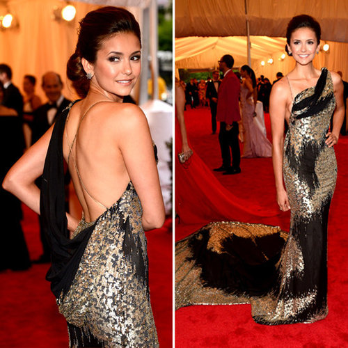 Pictures of Nina Dobrev in Donna Karan Atelier Dress on the Red Carpet at the 2012 Met Costume Institue Gala