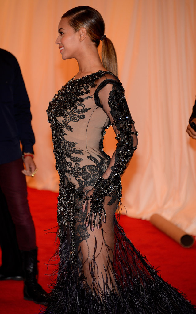 The side view of the dress showcased the nude panels and ornate beading.