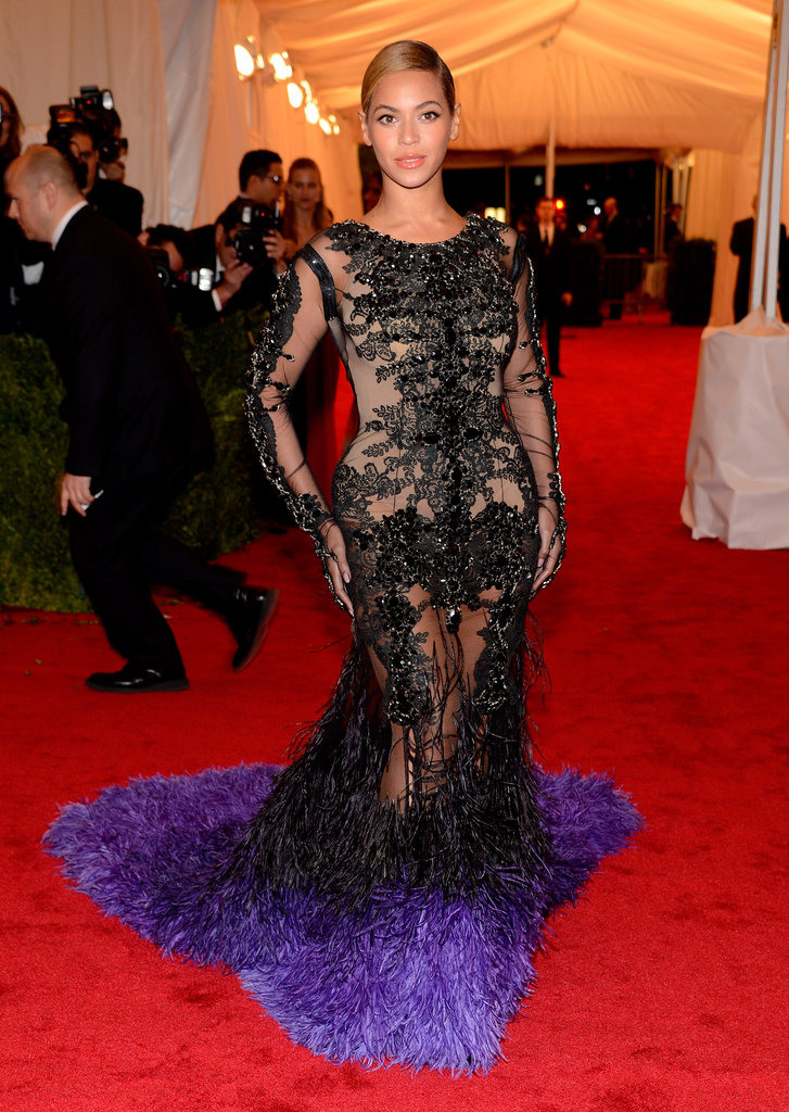 Beyoncé Knowles's Givenchy gown from the front is sheer and dynamic and a stunningly sexy choice for the Met Gala red carpet.