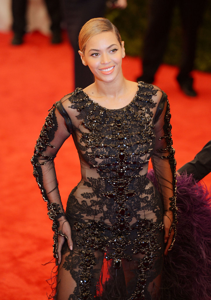 A close-up of the beading on Beyoncé's Givenchy gown.