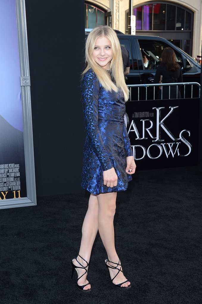 Chloe Moretz struck a pose on the black carpet of the Dark Shadows premiere in LA.