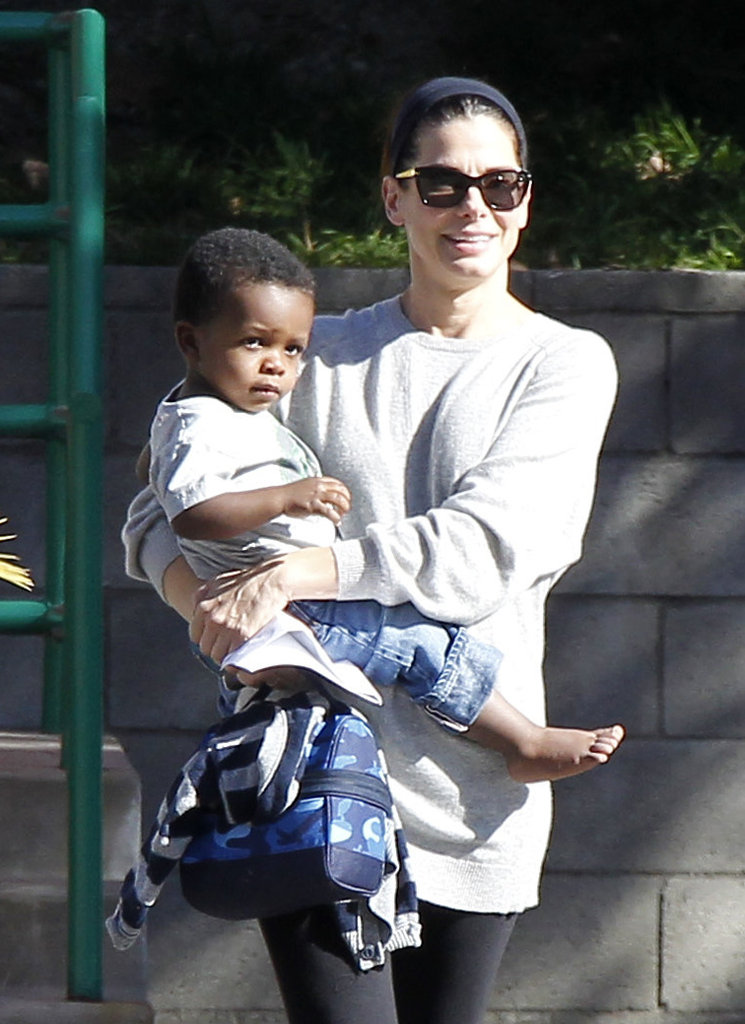 Sandra Bullock shared a sunny, smiley LA day with son Louis in April 2012.