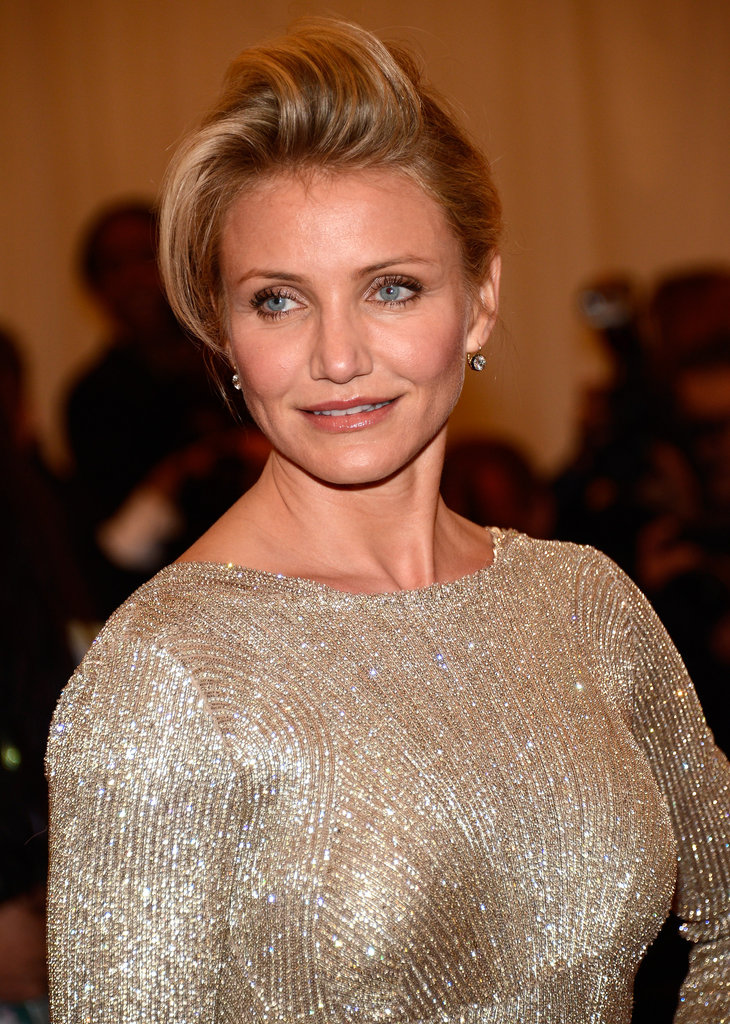Cameron Diaz posed at the Met Gala in a Stella McCartney gown.