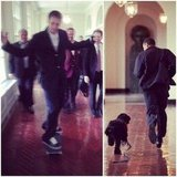 Tony Hawk skateboarded through the White House hallway, and also shared a photo of President Obama running through with his dog, Bo.  Source: Instagram user tonyhawk