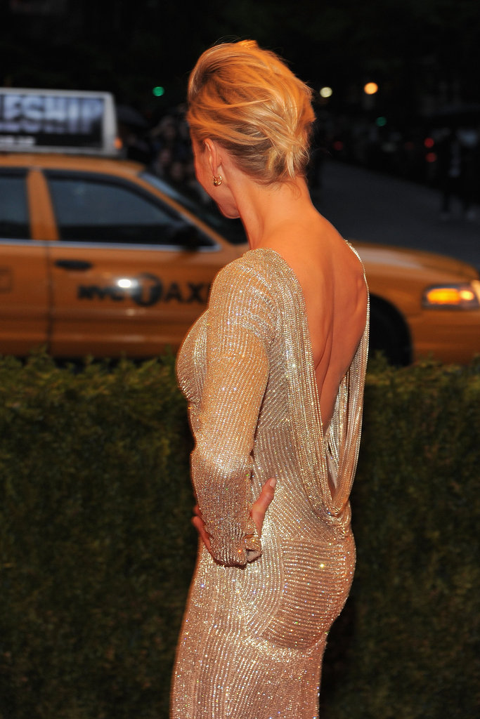 Cameron Diaz wore her hair back with a Stella McCartney gown to the Met Gala.