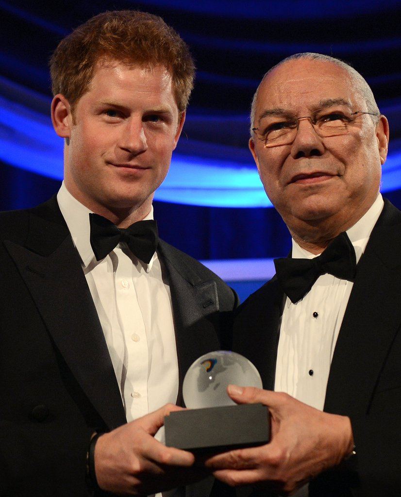 Prince Harry accepted the Distinguished Humanitarian Leadership Award presented by Colin Powell in Washington DC.