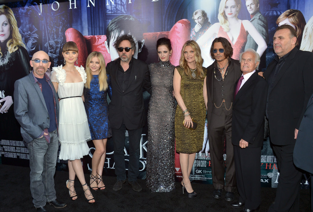 Jackie Earle Haley, Bella Heathcote, Chloe Moretz, director Tim Burton, Eva Green, Michelle Pfeiffer, Johnny Depp, and producers Richard D. Zanuck, Graham King, and David Kennedy all stepped onto the black carpet for the premiere of Dark Shadows in LA.