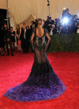 Beyoncé Knowles wore a Givenchy dress that had a feathered train.