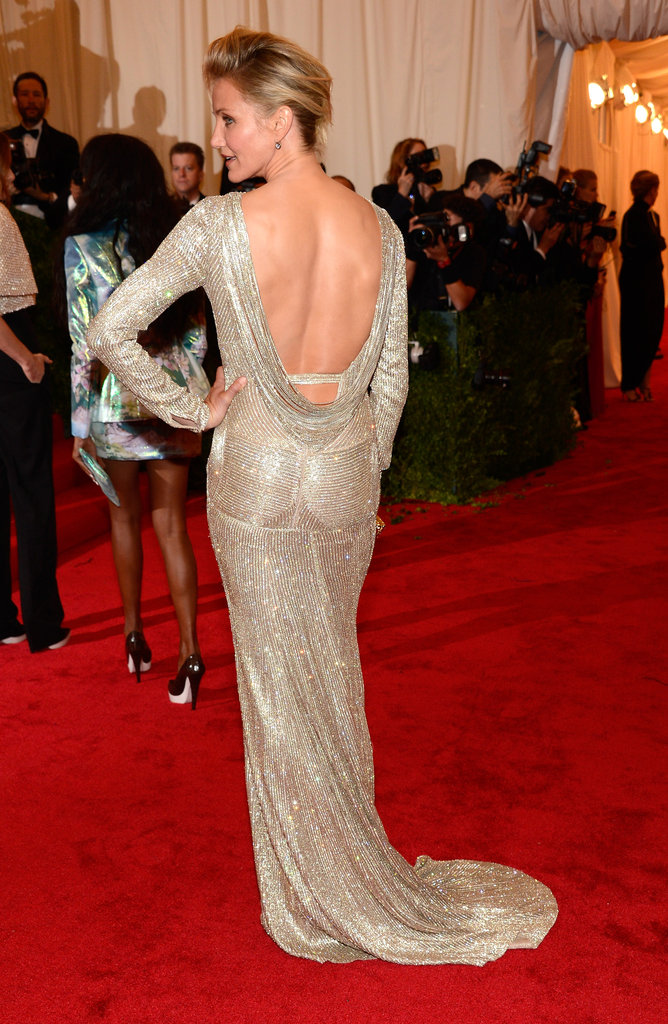 Cameron Diaz wore a backless Stella McCartney gown for the Met Gala.