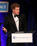 Prince Harry spoke on stage after accepting the Distinguished Humanitarian Leadership Award.