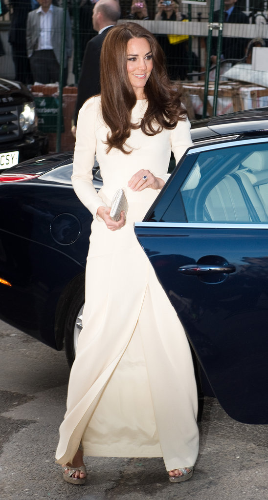 Kate Middleton was stunning in a long white gown from Roland Mouret.