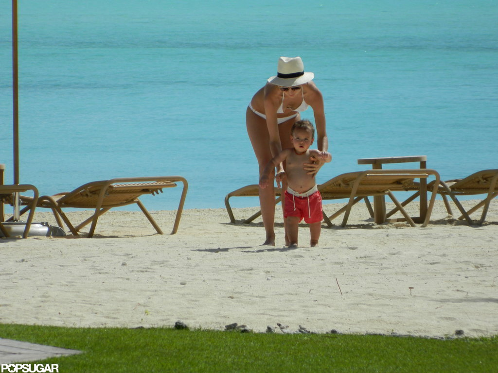 Miranda Kerr hung out on the beach in Bora Bora with Flynn.