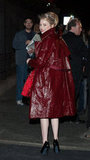 Emma Stone covered up her Lanvin dress with a red jacket for the Met Gala afterparties.