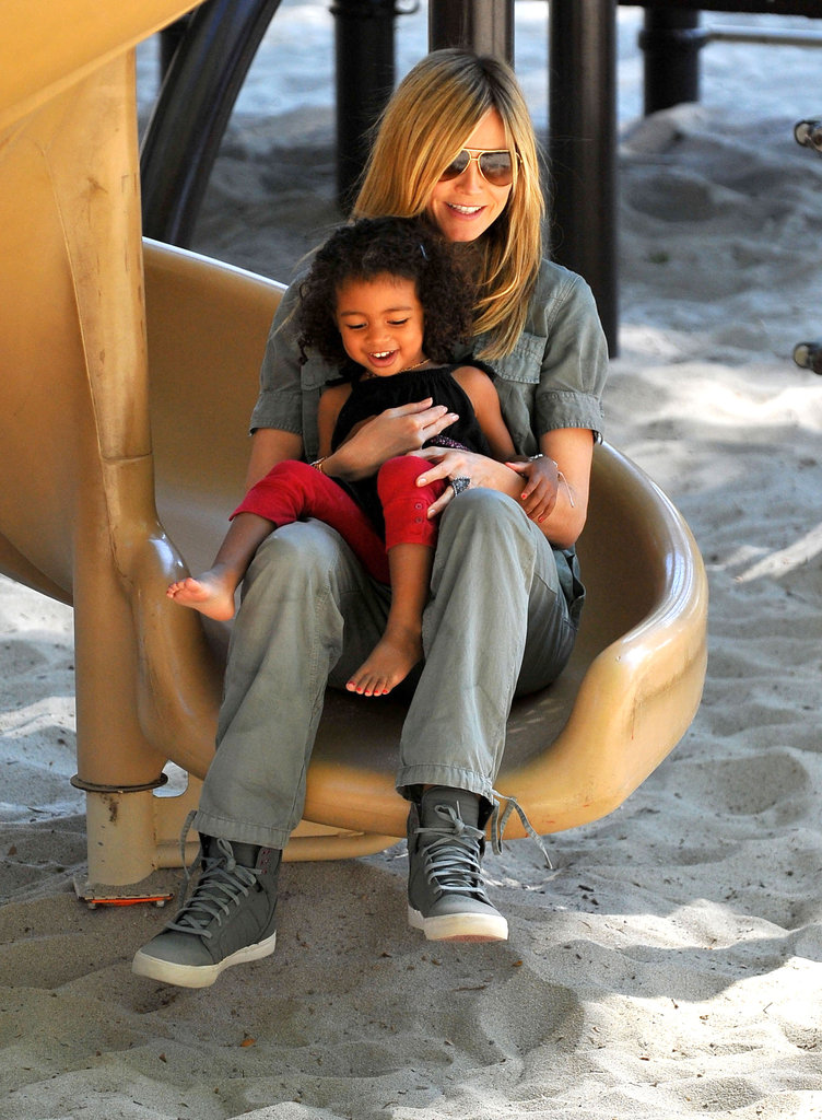 Heidi Klum and young daughter Lou Samuel had a fun day at an LA park in March 2012, spending time on the slides together.