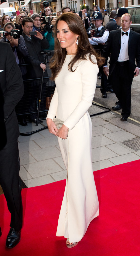 Kate Middleton was gorgeous in a white Roland Mouret gown.