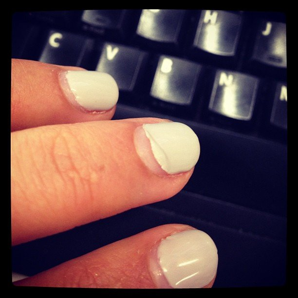Publisher Marisa had to fight the urge to peel off her Shellac mani. Sadly, she failed.