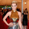 Carey Mulligan in Gold Sequinned Prada Pictures at 2012 Met Gala