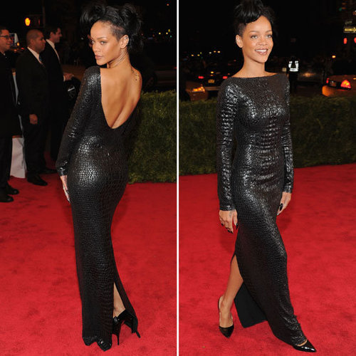 Pictures of Rihanna in Sexy Black Leather Look Tom Ford Dress on the Red Carpet at the 2012 Met Costume Institue Gala