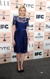 At the 2011 Independent Spirit Awards, Greta posed in a demure navy lace dress and black suede pumps.  6855828