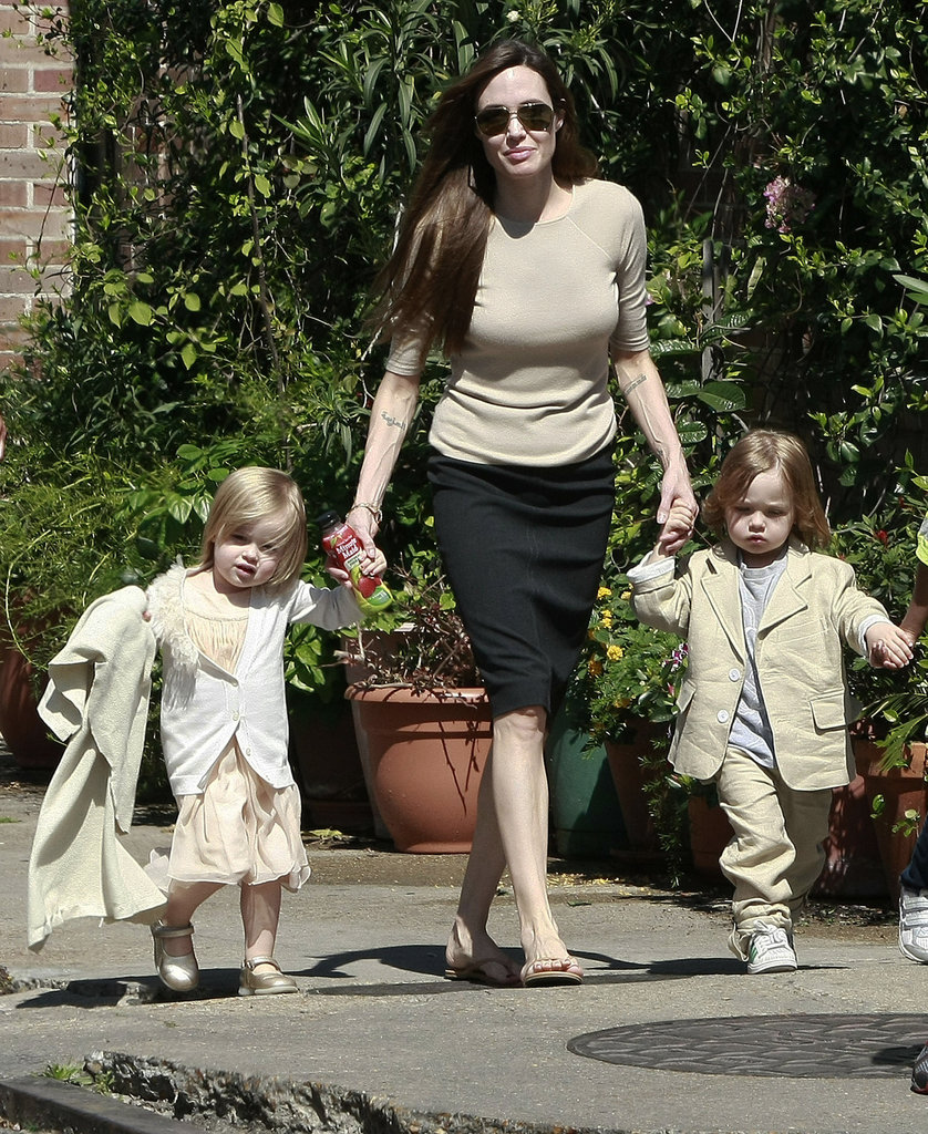 Angelina Jolie walked hand in hand with twins Vivienne and Knox Jolie-Pitt during a trip to New Orleans in March 2011.