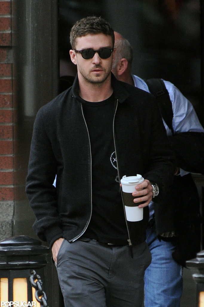 Justin Timberlake walked out of his hotel in NYC with a coffee in hand.