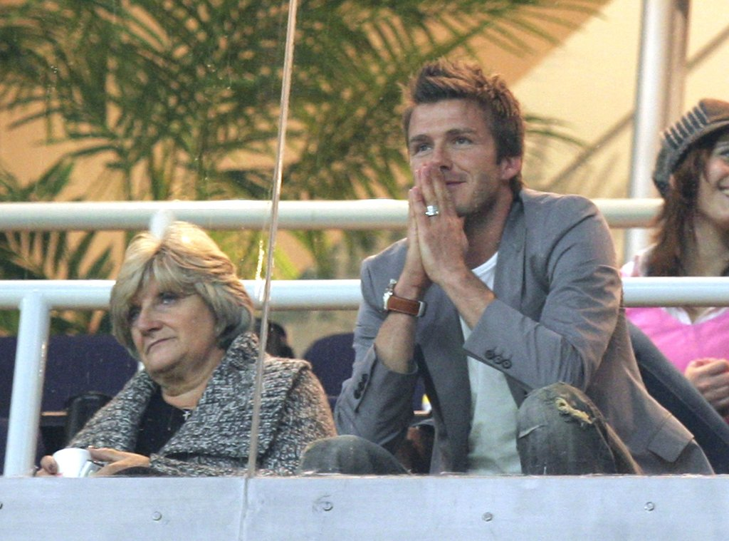 David Beckham sat with his mother, Sandra, during the January 2007 La Liga soccer match held in Spain.