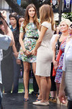 Nina Dobrev chatted with Maria Menounos at The Grove.