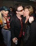 Bono gave Gwen Stefani's mum, Patti, a kiss on the cheek following a February 2002 concert in LA.