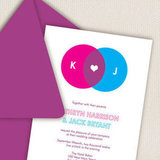 Take a cue from your old geometry days and geek up your paper goods with colorful venn diagram invitations ($3 each).