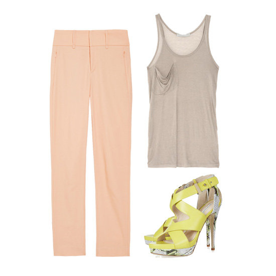 We love how blush-hued trousers look with a slouchy taupe tank — pair them with bright shoes for a fresh pop of color in the office, then add your favorite crisp white blazer. Get the Look:  Rag & Bone Malin Cropped Pants ($290) Kain Classic Modal Tank ($85) Burak Uyan Leather and Python Sandals ($1,005)
