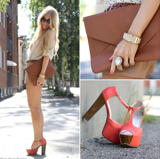 Dress up neutral dots with statement heels and this season's must-have oversize clutch.  Photo courtesy of Lookbook.nu