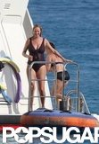 Uma Thurman took her pregnant belly yachting in St. Barts in March 2012.