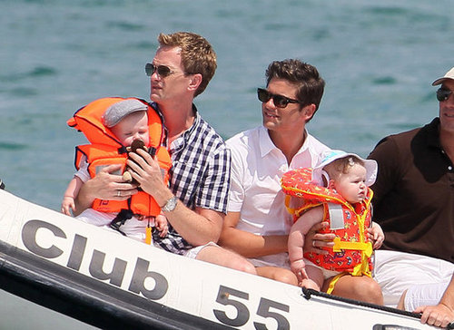 Neil Patrick Harris and David Burtka took twins Gideon and Harper on a boat ride off the coast of St. Tropez in August 2011.