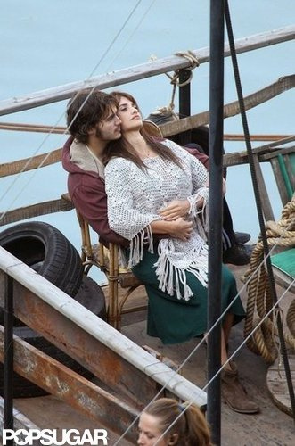 Penelope Cruz and Emile Hirsch took filming for Venuto al Mondo to an old ship in Rome in October 2011.