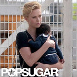 Charlize Theron held onto baby Jackson boarding the private plane.